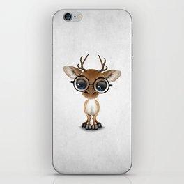 Cute Curious Nerdy Baby Deer Wearing Glasses iPhone Skin