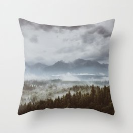 Misty mountains - Landscape and Nature Photography Throw Pillow