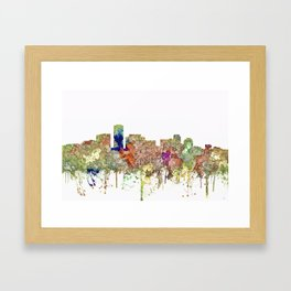 Long Beach, California Skyline - Faded Glory Framed Art Print