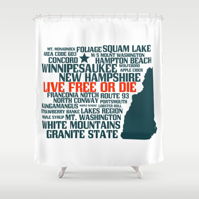 New Hampshire Live Free or Die Shower Curtain
