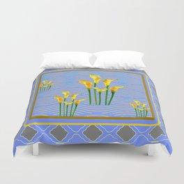 Blue Trellis Golden Yellow Calla Lilies Design Duvet Cover