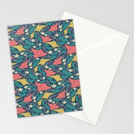 Manta Ray And Fish Pattern Stationery Cards