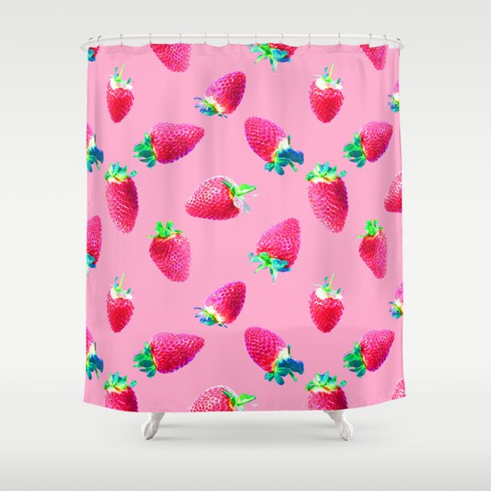 Pink Strawberry Pop Shower Curtain