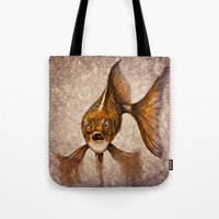 goldfish Tote Bags featuring Goldfish by Werk of Art