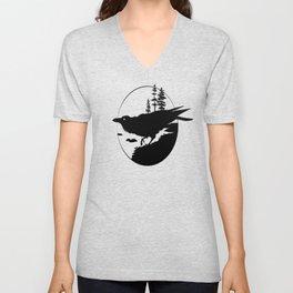 Raven Silhouette II Unisex V-Neck