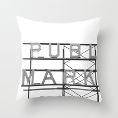 Pike Place Public Farmers Market - Black and White Throw Pillow