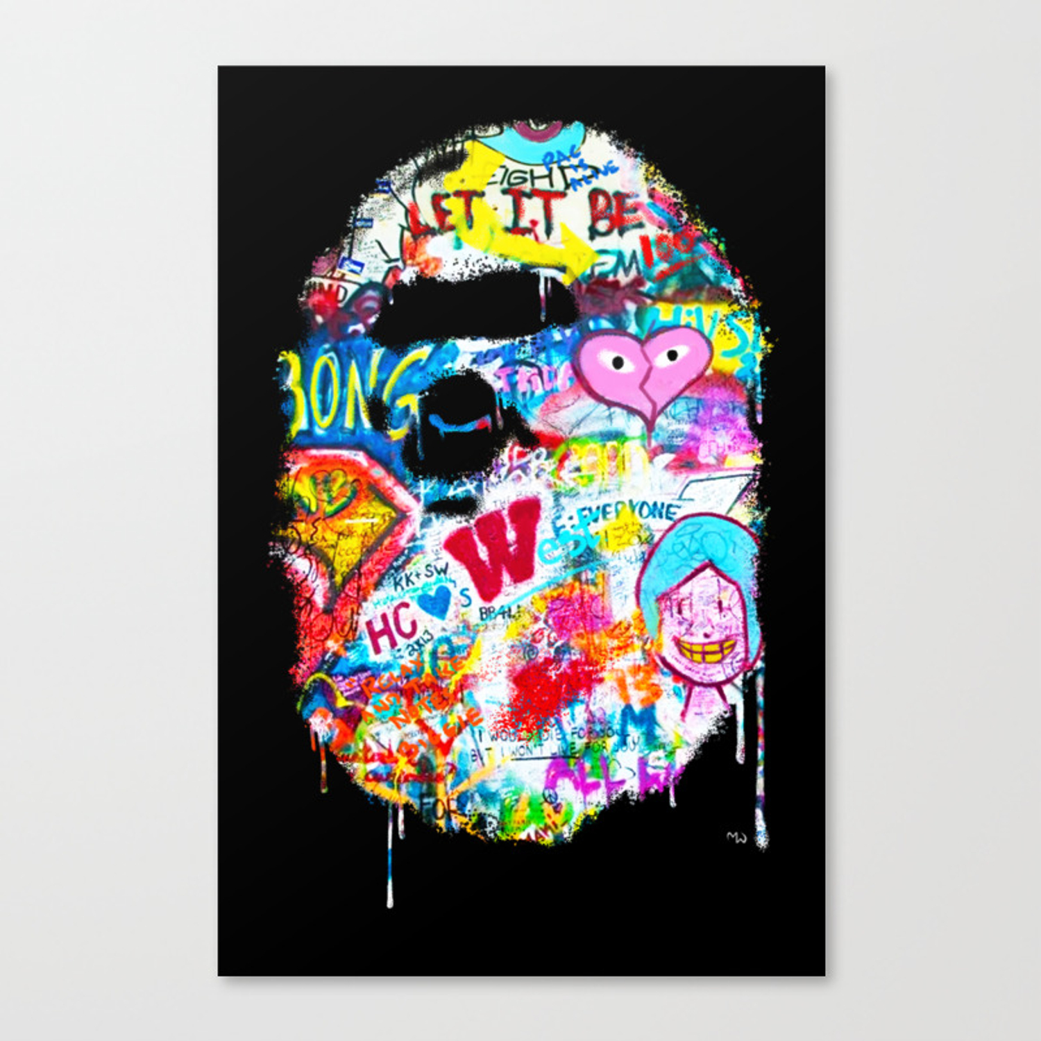Graffiti hypebeast bape illustration canvas print