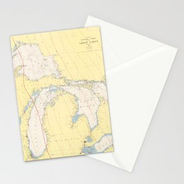 Vintage Map of The Great Lakes (1966) Stationery Cards