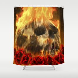 skull, roses and fire Shower Curtain