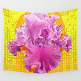 FRILLY PINK BEARDED IRIS YELLOW ART Wall Tapestry