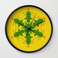 snowflake Wall Clocks featuring Snowflake by Dawn OConnor