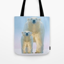 Cute Low poly polar bear with cub Tote Bag