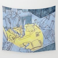 the office Wall Tapestries featuring office hand by sydneymadisonqueen