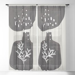 Mid Century Minimalist Black Ink Tribal Vase Abstract Vase Shapes Floral Plant Sheer Curtain