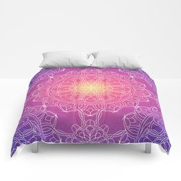 White Lace Mandala in Purple, Pink, and Yellow Comforters