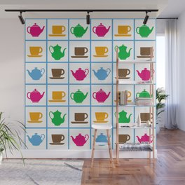 Colorful teapots pattern Wall Mural