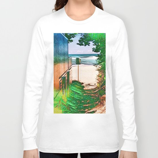 Hippie Beach View (Hippy / Hipster Waves of the Ocean) Long Sleeve T-shirt