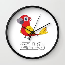 Used to be Noisy But Funny Talking Bird Tshirt Design  ello Wall Clock