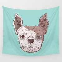 bulldog Wall Tapestries featuring Bulldog by Jamie Bryan