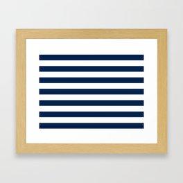 Slate Blue and White Stripes  - Navy Nautical Pattern Framed Art Print