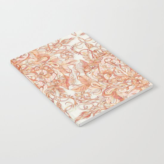 Autumn Peach Art Nouveau Pattern Notebook