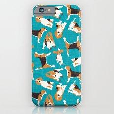 beagle scatter blue Slim Case iPhone 6