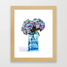 Watercolor Hydrangeas in Blue Mason Jar Framed Art Print