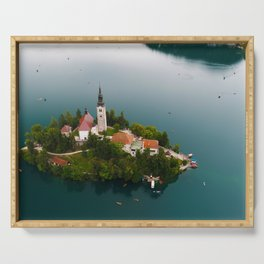 Small Island in the middle of Lake, Bled, Slovenia, architecture Serving Tray