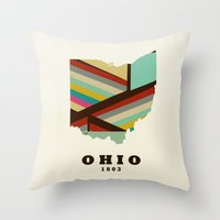 ohio state Throw Pillows featuring Ohio state map modern by bri.buckley