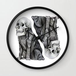 skullpug // A brutal pug wearing a human skull made in pencil Wall Clock