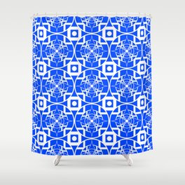Convergence Pattern - Blue on White Shower Curtain