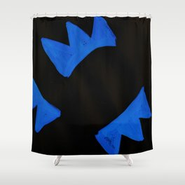 The Crown of Basquiat, Abstract, Electric Blue Shower Curtain
