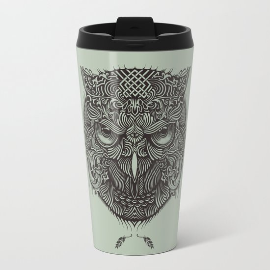 Warrior Owl Face Metal Travel Mug