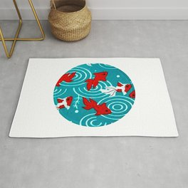 Japanese Circle 6 Koi fishes in pond Rug