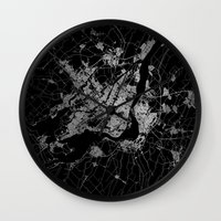 montreal Wall Clocks featuring montreal map by Line Line Lines