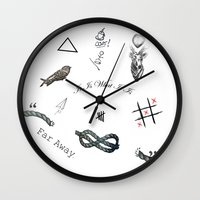 tattoos Wall Clocks featuring Louis's Tattoos by Kate & Co.
