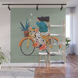 girl on bicycle for  rider Wall Mural