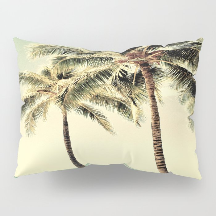 Retro Vintage Palm Tree With Hawaii Summer Sea Beach Pillow Sham