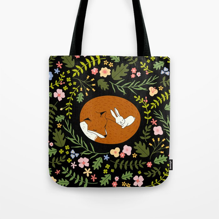Friendship in Wildlife_Fox and Bunny_Bg Black Tote Bag