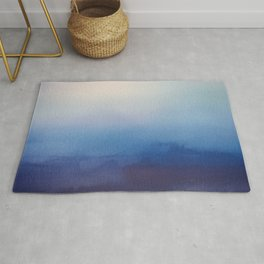 Ocean Mist - Abstract Watercolor Painting Blue and White Rug