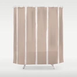 Skinny Strokes Gapped Vertical Off White on Nude Shower Curtain
