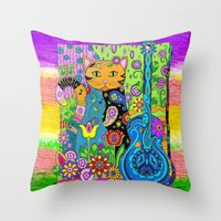 hippy Throw Pillows featuring Hippy Puss by SwanniePhotoArt