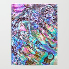 Shimmery Rainbow Abalone Mother of Pearl Poster