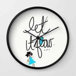 Let it Flow With Stick Figure Girl Wall Clock