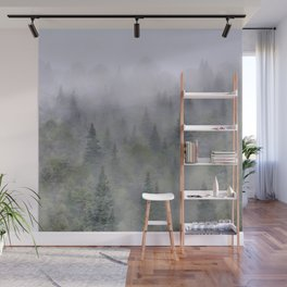 Foggy sunrise. Pinsapos into the woods. Square Wall Mural