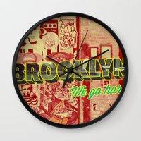 brooklyn Wall Clocks featuring Brooklyn by nicole martinez