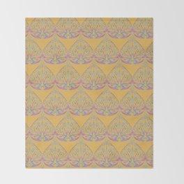Art Deco Yellow Throw Blanket