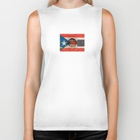puerto rico Biker Tanks featuring Old Vintage Acoustic Guitar with Puerto Rican Flag by Jeff Bartels
