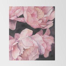 Peonies on Dark Background Throw Blanket