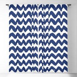 Navy Brushstroke Chevron Pattern Blackout Curtain